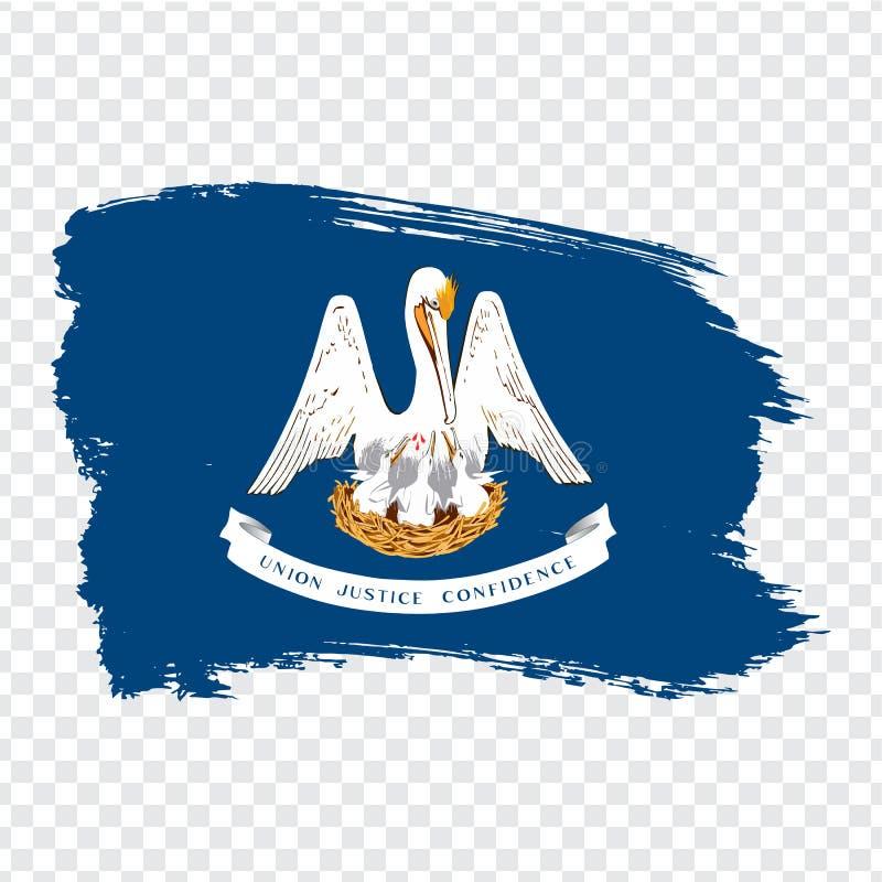 Σημαία της Λουιζιάνας από τα κτυπήματα βουρτσών r Σημαία Λουιζιάνα στο διαφανές υπόβαθρο για το σχέδιο ιστοχώρου σας απεικόνιση αποθεμάτων
