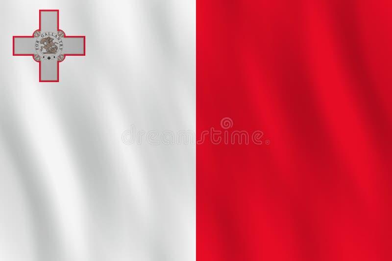 Σημαία της Μάλτας με την επίδραση κυματισμού, επίσημη αναλογία ελεύθερη απεικόνιση δικαιώματος