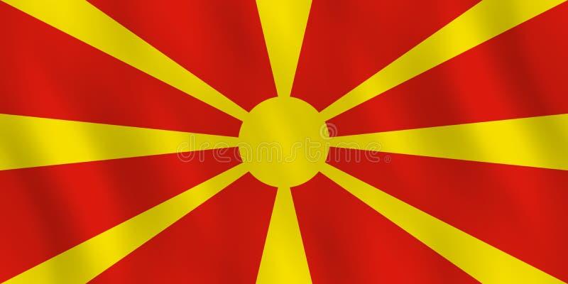Σημαία της Μακεδονίας με την επίδραση κυματισμού, επίσημη αναλογία διανυσματική απεικόνιση