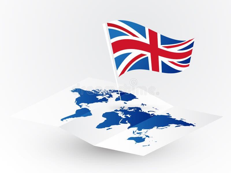Σημαία της Μεγάλης Βρετανίας στην αφηρημένη κενή διακινούμενη έννοια παγκόσμιων χαρτών απεικόνιση αποθεμάτων