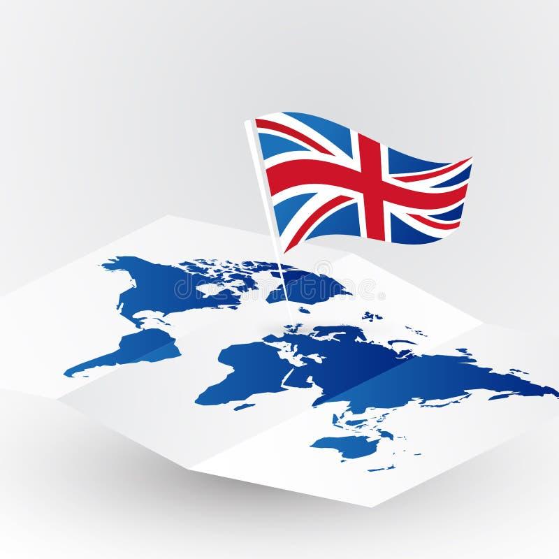 Σημαία της Μεγάλης Βρετανίας στον αφηρημένο παγκόσμιο χάρτη απεικόνιση αποθεμάτων