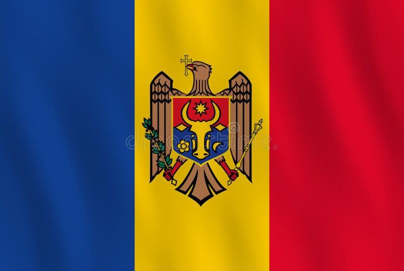 Σημαία της Μολδαβίας με την επίδραση κυματισμού, επίσημη αναλογία απεικόνιση αποθεμάτων