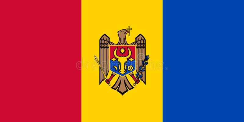 Σημαία της Μολδαβίας στο επίσημα ποσοστό και το διάνυσμα χρωμάτων - αντίστροφη πλευρά διανυσματική απεικόνιση