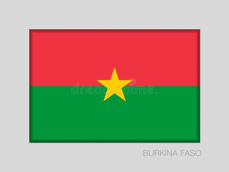 Σημαία της Μπουρκίνα Φάσο Εθνικός Ensign λόγος διάστασης 2 έως 3 στο γκρίζο χαρτόνι απεικόνιση αποθεμάτων