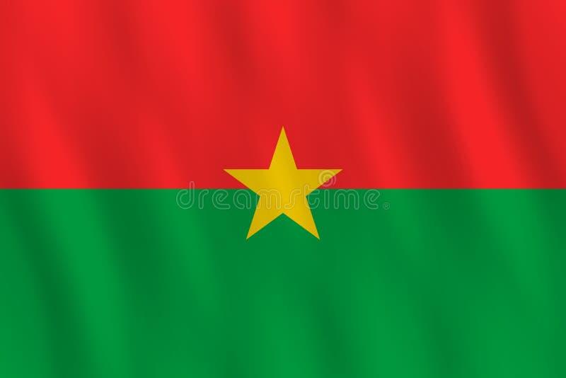 Σημαία της Μπουρκίνα Φάσο με την επίδραση κυματισμού, επίσημη αναλογία διανυσματική απεικόνιση