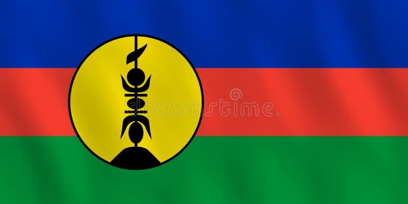 Σημαία της Νέας Καληδονίας με την επίδραση κυματισμού, επίσημη αναλογία ελεύθερη απεικόνιση δικαιώματος