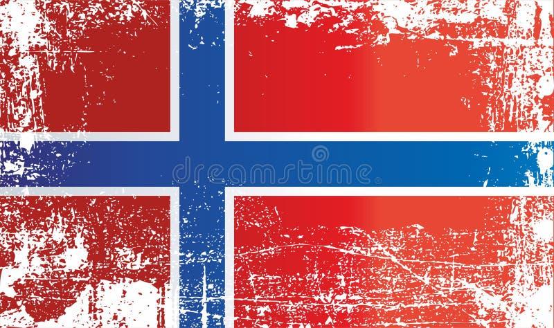 Σημαία της Νορβηγίας, βασίλειο της Νορβηγίας Ζαρωμένα βρώμικα σημεία απεικόνιση αποθεμάτων