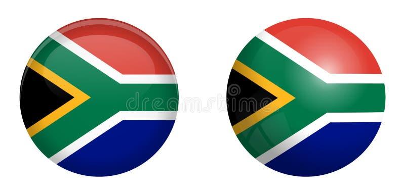 Σημαία της Νότιας Αφρικής κάτω από το τρισδιάστατο κουμπί θόλων και στη στιλπνές σφαίρα/τη σφαίρα απεικόνιση αποθεμάτων