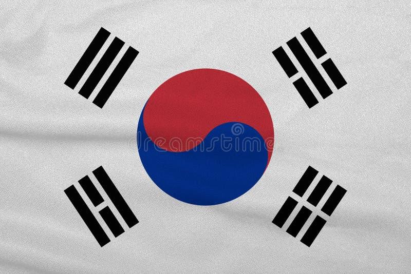 Σημαία της Νότιας Κορέας από το πλεκτό εργοστάσιο ύφασμα Υπόβαθρα και συστάσεις στοκ φωτογραφία με δικαίωμα ελεύθερης χρήσης