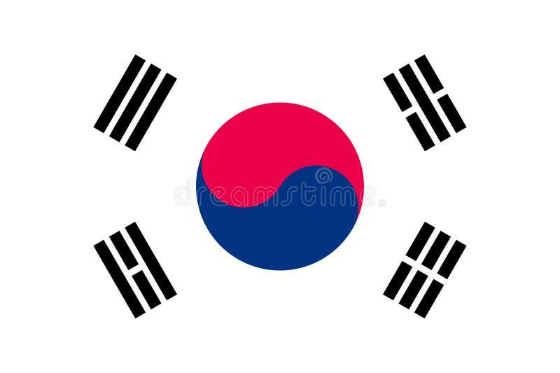 Σημαία της Νότιας Κορέας, διανυσματικό επίπεδο ύφος ελεύθερη απεικόνιση δικαιώματος