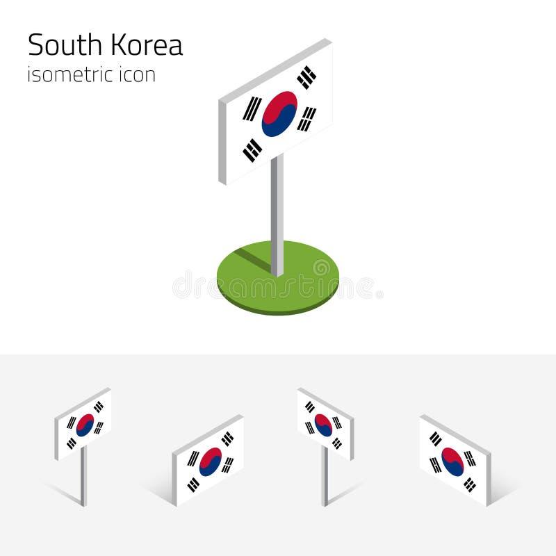 Σημαία της Νότιας Κορέας, διανυσματικό σύνολο τρισδιάστατων isometric εικονιδίων απεικόνιση αποθεμάτων