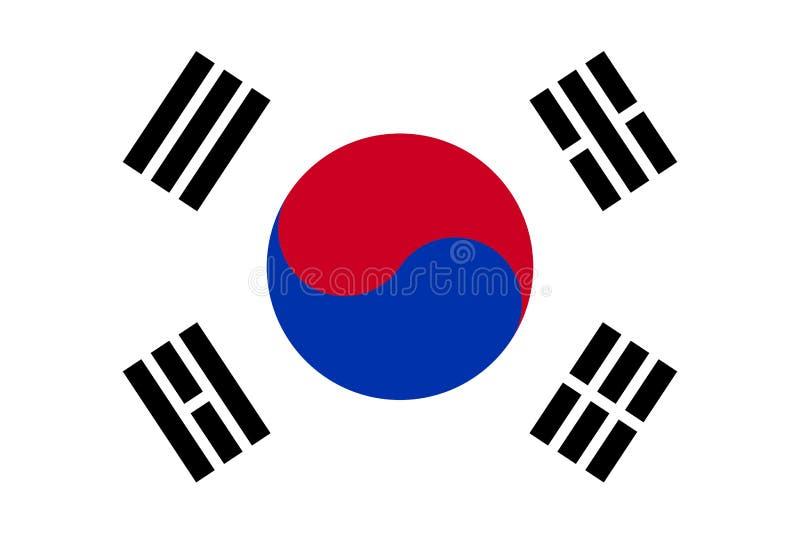Σημαία της Νότιας Κορέας, μαύρα μπλε και κόκκινα στοιχεία στο άσπρο υπόβαθρο ελεύθερη απεικόνιση δικαιώματος