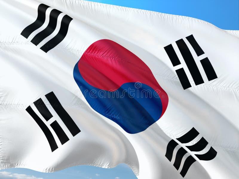 Σημαία της Νότιας Κορέας που κυματίζει στον αέρα ενάντια στο βαθύ μπλε ουρανό r στοκ φωτογραφία