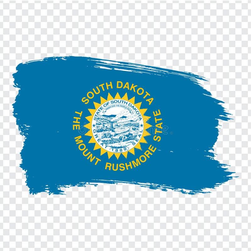 Σημαία της νότιας Ντακότας από τα κτυπήματα βουρτσών r Νότια Ντακότα σημαιών στο διαφανές υπόβαθρο για τον ιστοχώρο σας απεικόνιση αποθεμάτων