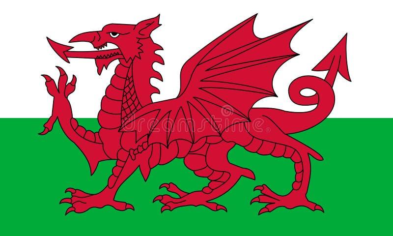 Σημαία της Ουαλίας στα επίσημα χρώματα και με το λόγο διάστασης στις 3:5 απεικόνιση αποθεμάτων