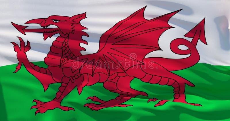 Σημαία της Ουαλίας r διανυσματική απεικόνιση