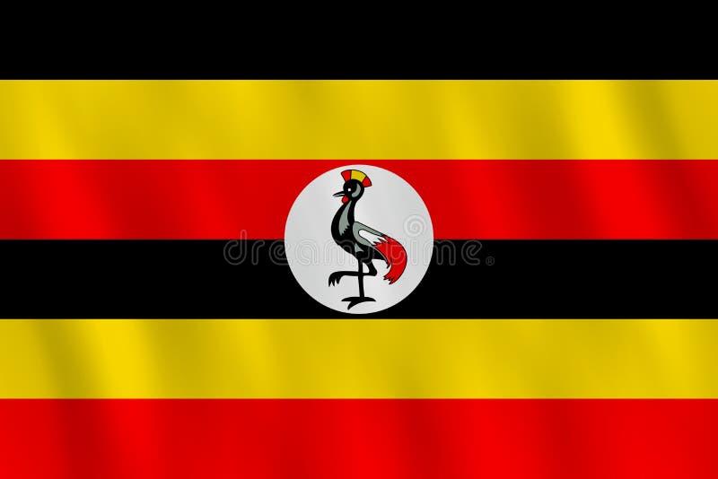 Σημαία της Ουγκάντας με την επίδραση κυματισμού, επίσημη αναλογία διανυσματική απεικόνιση