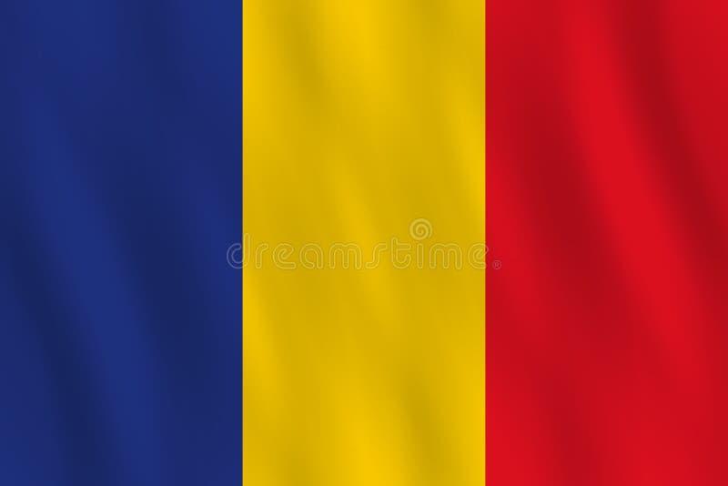 Σημαία της Ρουμανίας με την επίδραση κυματισμού, επίσημη αναλογία απεικόνιση αποθεμάτων