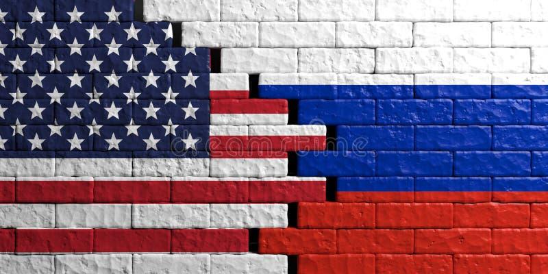 Σημαία της Ρωσίας και των ΗΠΑ, υπόβαθρο τουβλότοιχος τρισδιάστατη απεικόνιση απεικόνιση αποθεμάτων