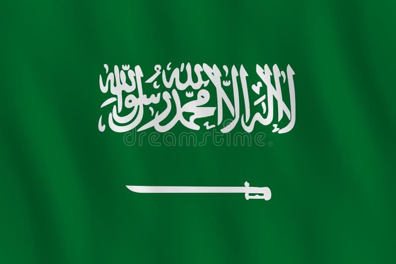 Σημαία της Σαουδικής Αραβίας με την επίδραση κυματισμού, επίσημη αναλογία απεικόνιση αποθεμάτων