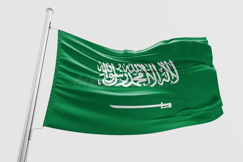 Σημαία της Σαουδικής Αραβίας που κυματίζει την τρισδιάστατη ρεαλιστική σαουδαραβική σημαία απεικόνιση αποθεμάτων