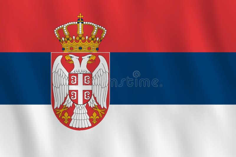 Σημαία της Σερβίας με την επίδραση κυματισμού, επίσημη αναλογία απεικόνιση αποθεμάτων