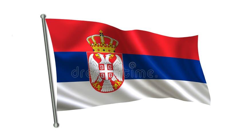 Σημαία της Σερβίας, σειρά Α των σημαιών ` του κόσμου ` Η χώρα - Σερβία διανυσματική απεικόνιση