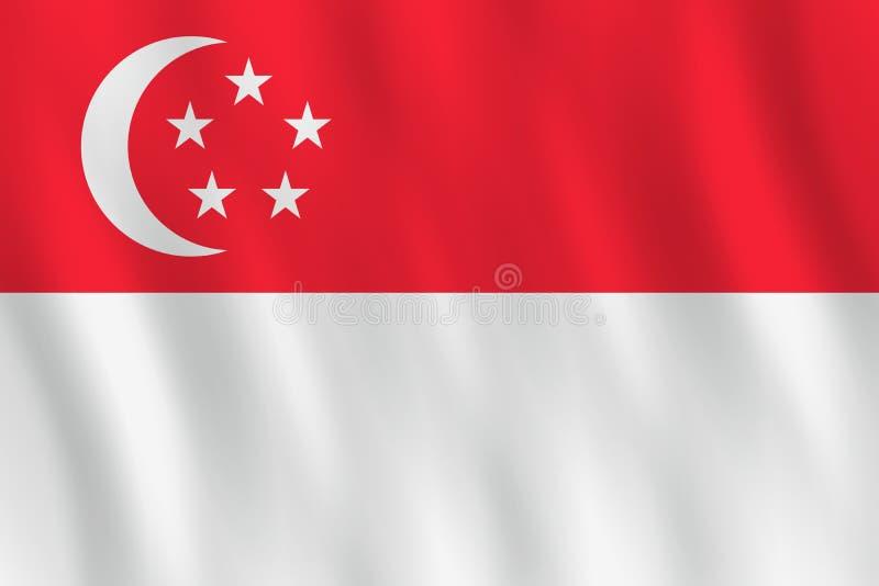 Σημαία της Σιγκαπούρης με την επίδραση κυματισμού, επίσημη αναλογία απεικόνιση αποθεμάτων
