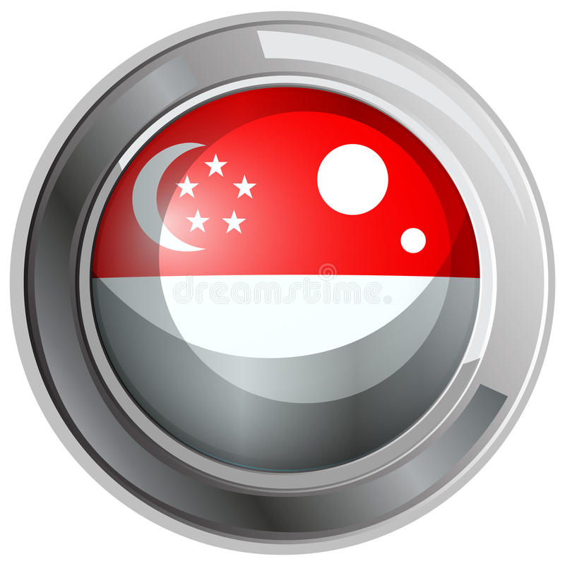 Σημαία της Σιγκαπούρης στο στρογγυλό διακριτικό διανυσματική απεικόνιση
