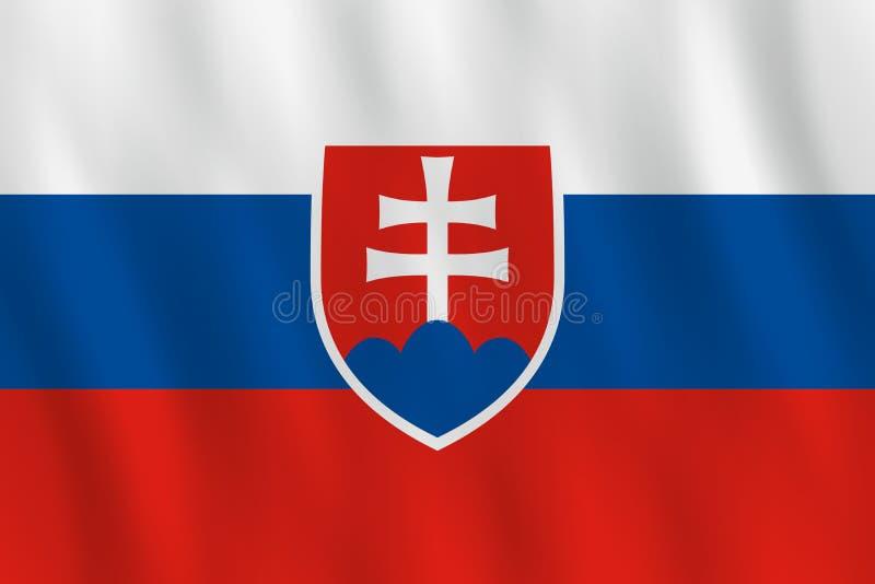 Σημαία της Σλοβακίας με την επίδραση κυματισμού, επίσημη αναλογία διανυσματική απεικόνιση