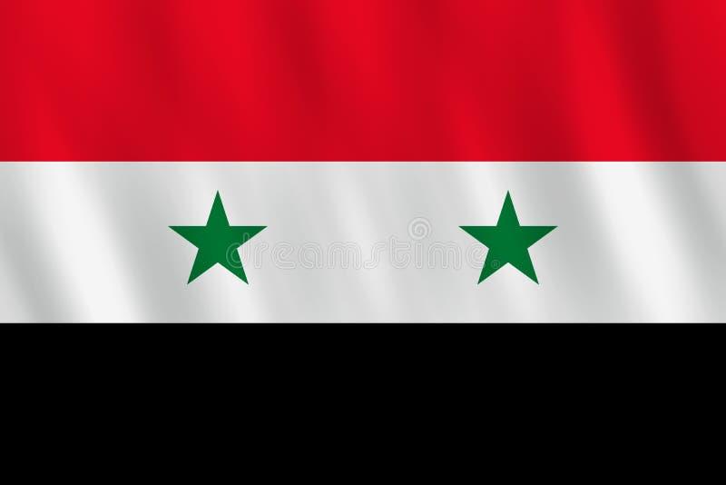 Σημαία της Συρίας με την επίδραση κυματισμού, επίσημη αναλογία απεικόνιση αποθεμάτων