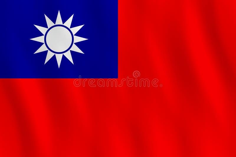 Σημαία της Ταϊβάν με την επίδραση κυματισμού, επίσημη αναλογία ελεύθερη απεικόνιση δικαιώματος