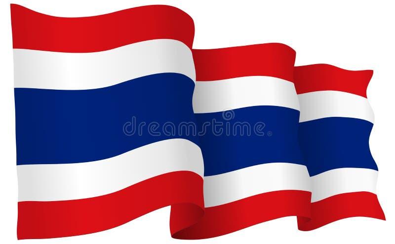 Σημαία της Ταϊλάνδης που κυματίζει τη διανυσματική απεικόνιση διανυσματική απεικόνιση