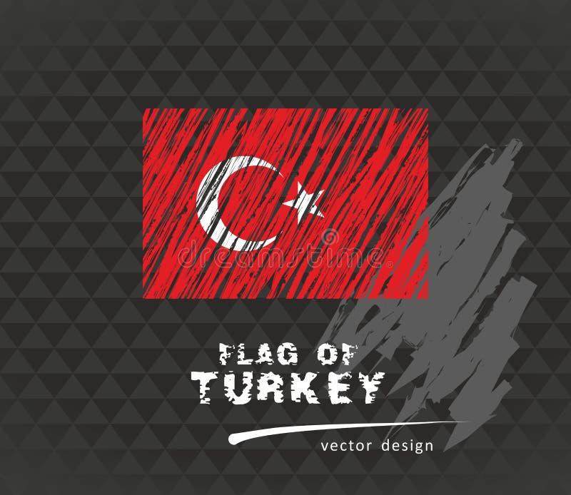 Σημαία της Τουρκίας, διανυσματική απεικόνιση μανδρών στο μαύρο υπόβαθρο ελεύθερη απεικόνιση δικαιώματος