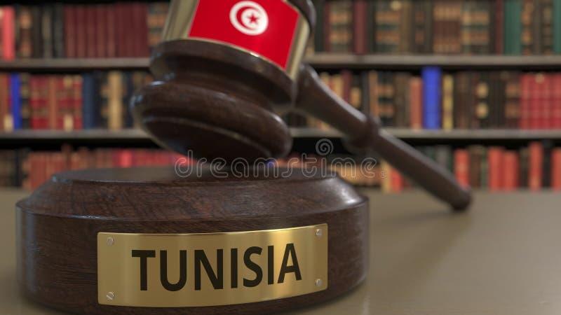 Σημαία της Τυνησίας μειωμένο gavel δικαστών στο δικαστήριο Η εθνική δικαιοσύνη ή η αρμοδιότητα αφορούσε την εννοιολογική τρισδιάσ ελεύθερη απεικόνιση δικαιώματος