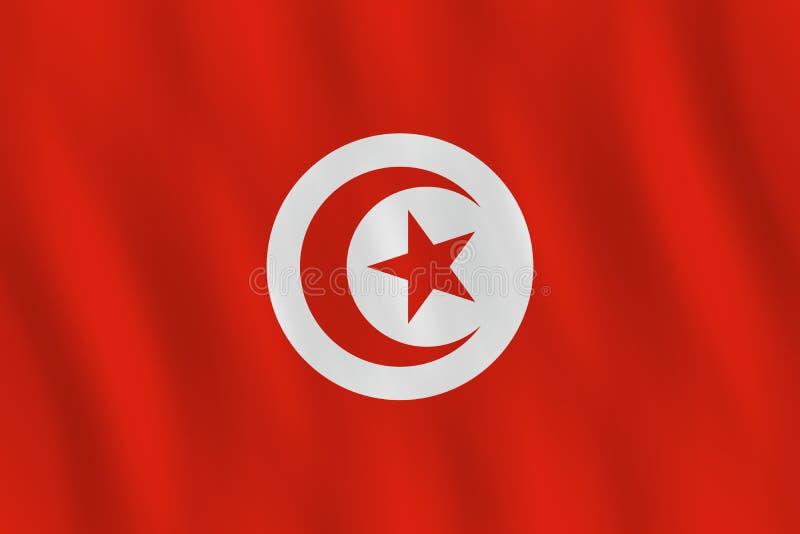 Σημαία της Τυνησίας με την επίδραση κυματισμού, επίσημη αναλογία ελεύθερη απεικόνιση δικαιώματος