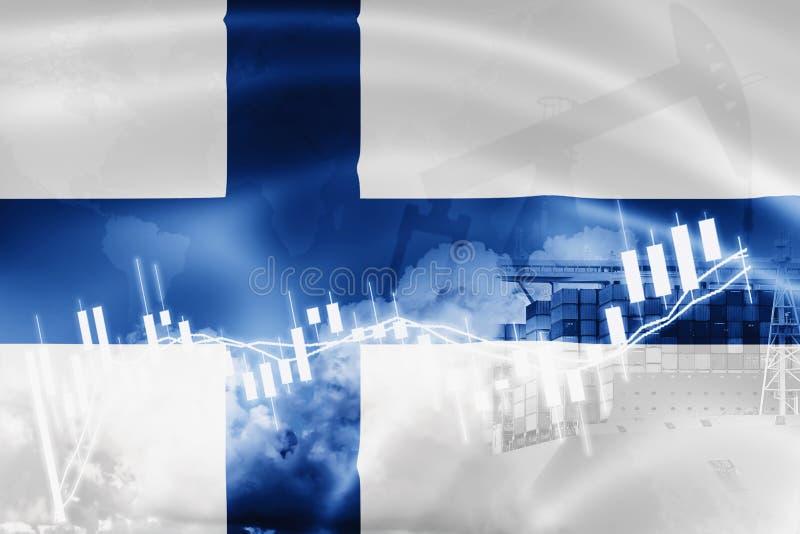 Σημαία της Φινλανδίας, χρηματιστήριο, οικονομία ανταλλαγής και εμπόριο, παραγωγή πετρελαίου, σκάφος εμπορευματοκιβωτίων στην εξαγ απεικόνιση αποθεμάτων