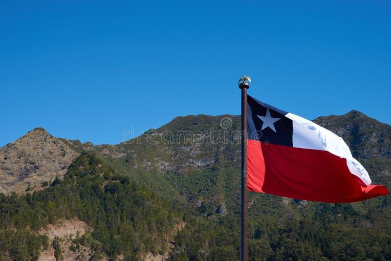 Σημαία της Χιλής στο νησί Robinson Crusoe στοκ εικόνα με δικαίωμα ελεύθερης χρήσης