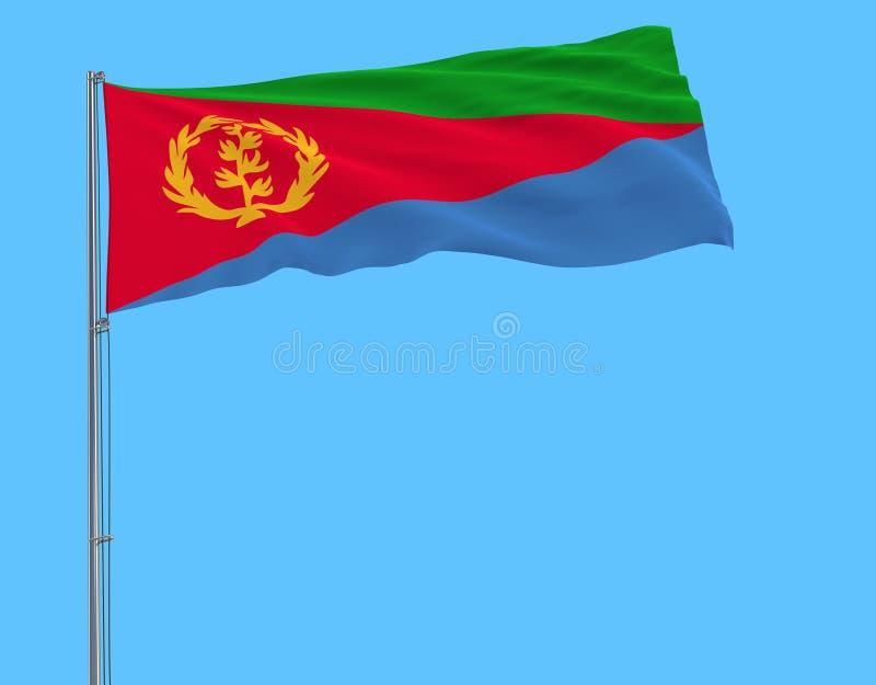 Σημαία της Eritrea στο κοντάρι σημαίας που κυματίζει στον αέρα σε ένα καθαρό μπλε υπόβαθρο, τρισδιάστατη απόδοση στοκ φωτογραφία