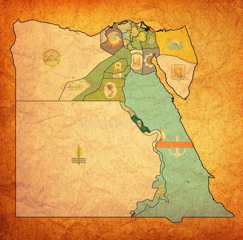 σημαία της Sohag στο χάρτη των κυβερνήσεων της Αιγύπτου στοκ φωτογραφία με δικαίωμα ελεύθερης χρήσης