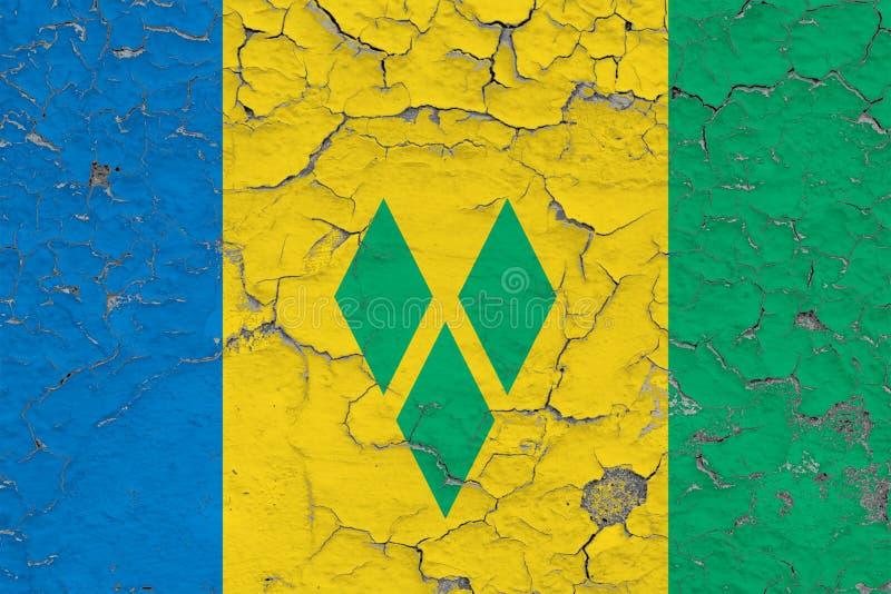 Σημαία του Άγιου Βικεντίου και Γρεναδίνες που χρωματίζεται στο ραγισμένο βρώμικο τοίχο Εθνικό σχέδιο στην εκλεκτής ποιότητας επιφ διανυσματική απεικόνιση