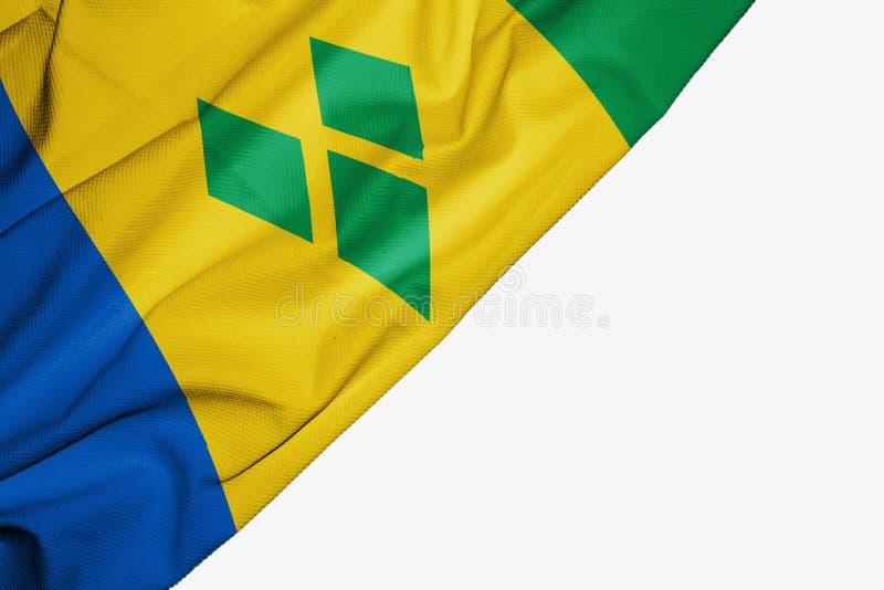 Σημαία του Άγιου Βικεντίου και Γρεναδίνες του υφάσματος με το copyspace για το κείμενό σας στο άσπρο υπόβαθρο διανυσματική απεικόνιση