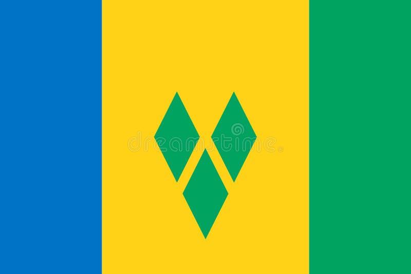 Σημαία του Άγιου Βικεντίου και Γρεναδίνες r Παγκόσμια σημαία διανυσματική απεικόνιση