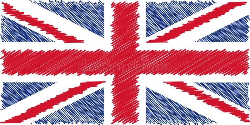 Σημαία του αγγλικού μολυβιού που σύρει τη διανυσματική απεικόνιση Union Jack Χρησιμοποίηση για τις εργασίες διακοσμήσεων διανυσματική απεικόνιση