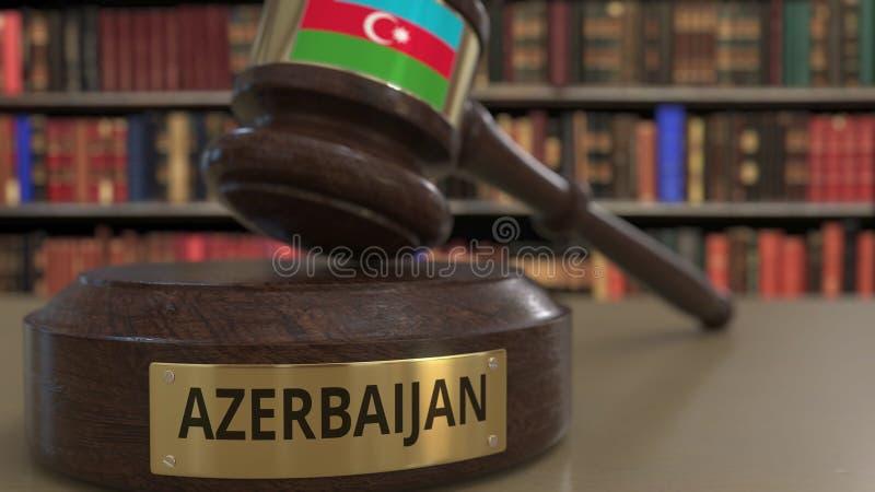 Σημαία του Αζερμπαϊτζάν μειωμένο gavel δικαστών στο δικαστήριο Η εθνική δικαιοσύνη ή η αρμοδιότητα αφορούσε την εννοιολογική τρισ απεικόνιση αποθεμάτων