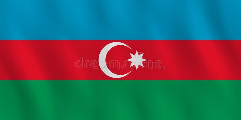 Σημαία του Αζερμπαϊτζάν με την επίδραση κυματισμού, επίσημη αναλογία απεικόνιση αποθεμάτων