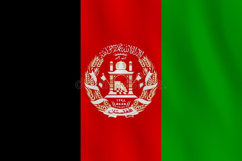 Σημαία του Αφγανιστάν με την επίδραση κυματισμού, επίσημη αναλογία διανυσματική απεικόνιση