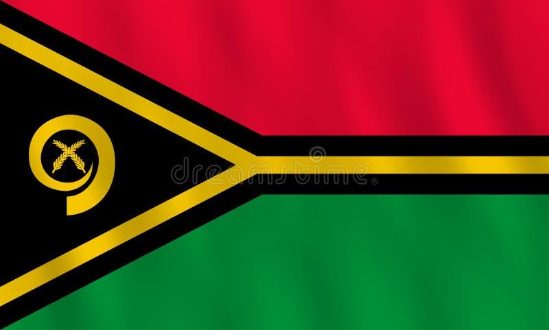 Σημαία του Βανουάτου με την επίδραση κυματισμού, επίσημη αναλογία διανυσματική απεικόνιση