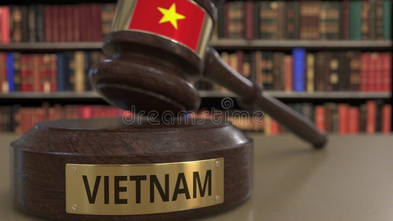 Σημαία του Βιετνάμ μειωμένο gavel δικαστών στο δικαστήριο Η εθνική δικαιοσύνη ή η αρμοδιότητα αφορούσε την εννοιολογική τρισδιάστ απεικόνιση αποθεμάτων