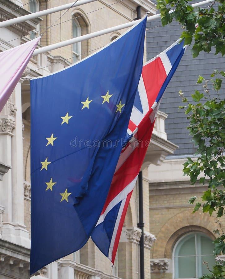 σημαία του Ηνωμένου Βασιλείου (UK) άλλως Union Jack and European Unio στοκ εικόνα με δικαίωμα ελεύθερης χρήσης